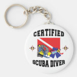 Certified SCUBA Diver Basic Round Button Key Ring