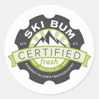 Certified Ski Bum Round Stickers