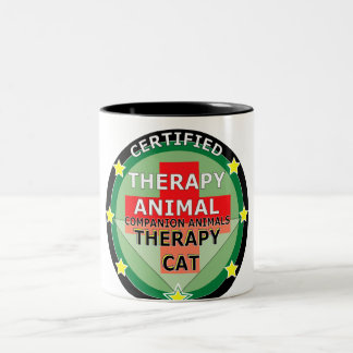 CERTIFIED THERAPY ANIMAL - THERAPY CAT Two-Tone MUG