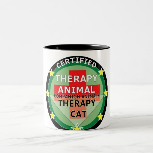CERTIFIED THERAPY ANIMAL - THERAPY CAT COFFEE MUGS
