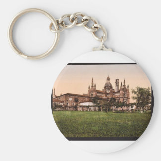 Certosa di Pavia, the back, Milan, Italy vintage P Basic Round Button Key Ring