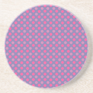 Cerulean And Pink Polka Dots Pattern Beverage Coasters