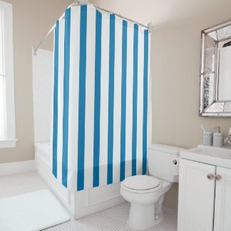 Cerulean Blue and White Stripes Shower Curtain