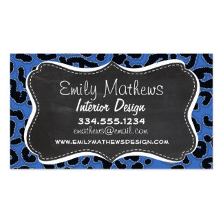 Cerulean Blue Leopard Animal Print; Chalk look Pack Of Standard Business Cards
