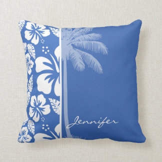Cerulean Blue Tropical Hibiscus and Palm Cushion