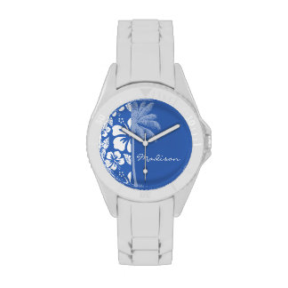 Cerulean Blue Tropical Hibiscus and Palm Wrist Watches