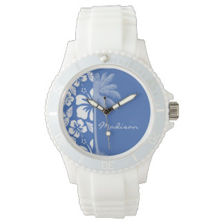 Cerulean Blue Tropical Hibiscus and Palm Wristwatch