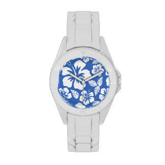 Cerulean Blue Tropical Hibiscus Wrist Watch
