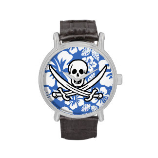 Cerulean Blue Tropical Hibiscus; Pirate Flag Watches