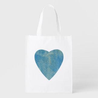 Cerulean Blue Watercolor Heart Reusable Grocery Bag