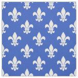 Cerulean Blue, White Fleur De Lis Pattern Fabric