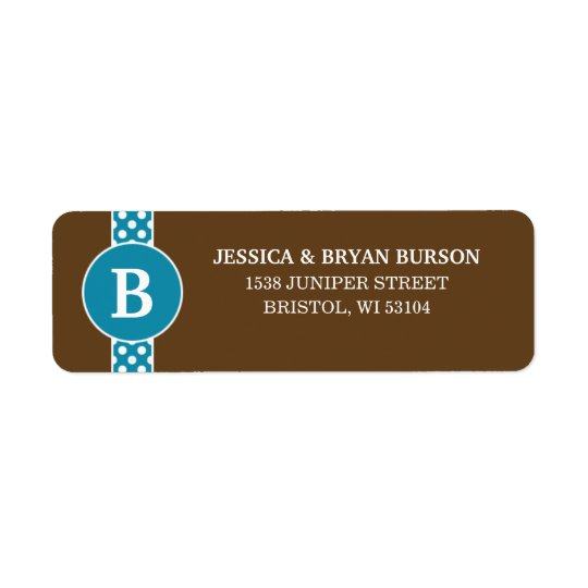 Cerulean Dainty Dots Custom Monogrammed Family Return Address Label
