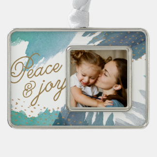 Cerulean Holiday Silver Plated Framed Ornament