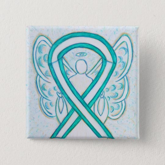 Cervical Cancer Awareness Ribbon Angel Button Pin