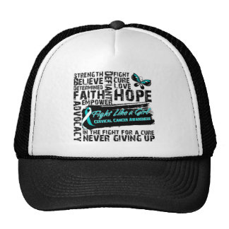 Cervical Cancer Collage - Fight Like a Girl Trucker Hats