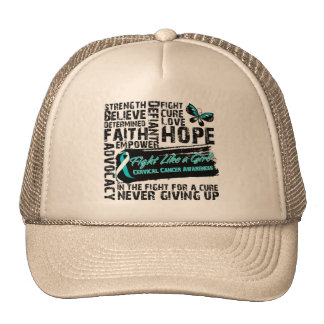 Cervical Cancer Collage - Fight Like a Girl Mesh Hats