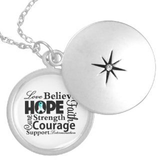 Cervical Cancer Collage of Hope Round Locket Necklace