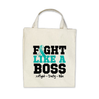 Cervical Cancer Fight Like a Boss Canvas Bag