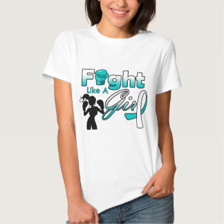 Cervical Cancer Fight Like A Girl Silhouette T Shirts