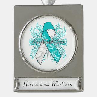 Cervical Cancer Flourish Hope Faith Cure Silver Plated Banner Ornament