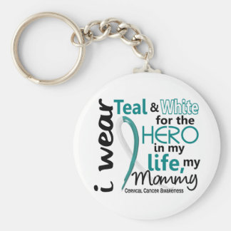 Cervical Cancer For My Hero My Mommy 2 Basic Round Button Key Ring