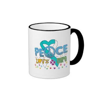 Cervical Cancer Groovy Peace Love Cure Ringer Mug