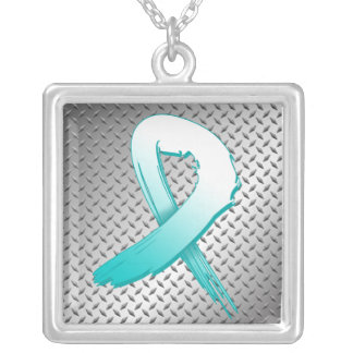 Cervical Cancer Grunge Ribbon Metal Style Necklaces