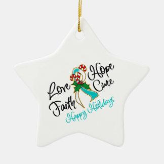 Cervical Cancer Hope Love Cure Happy Holidays Ceramic Star Decoration