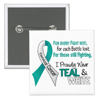 Cervical Cancer I Proudly Wear Teal and White 1 15 Cm Square Badge