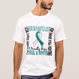Cervical Cancer I Proudly Wear Teal And White 2 T-Shirt
