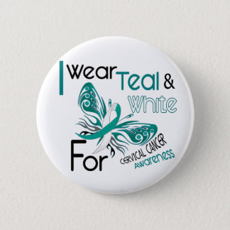 CERVICAL CANCER I Wear Teal and White Awareness 45 6 Cm Round Badge