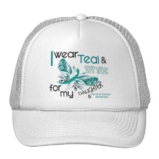 CERVICAL CANCER I Wear Teal and White Daughter 45 Hats