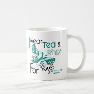 CERVICAL CANCER I Wear Teal and White For ME 45 Basic White Mug