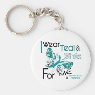 CERVICAL CANCER I Wear Teal and White For ME 45 Key Ring