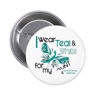 CERVICAL CANCER I Wear Teal and White For My Aunt 6 Cm Round Badge