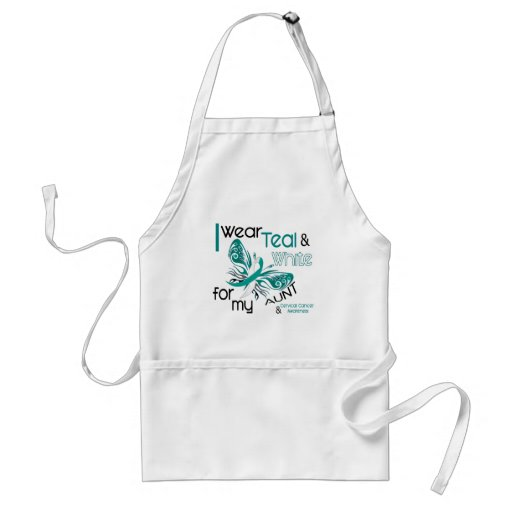 CERVICAL CANCER I Wear Teal and White For My Aunt Standard Apron