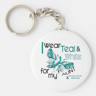 CERVICAL CANCER I Wear Teal and White For My Aunt Key Ring
