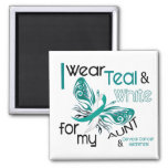 CERVICAL CANCER I Wear Teal and White For My Aunt Square Magnet