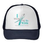 Cervical Cancer I Wear Teal and White For My Wife Cap