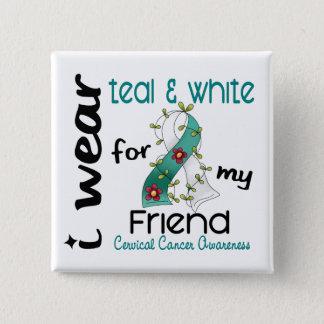 Cervical Cancer I Wear Teal & White For My Friend 15 Cm Square Badge