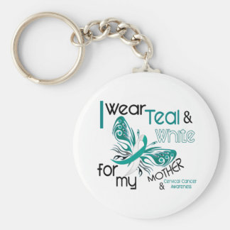 CERVICAL CANCER I Wear Teal White For My Mother 45 Basic Round Button Key Ring