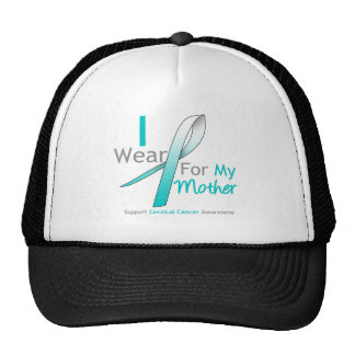 Cervical Cancer I Wear Teal & White For My Mother Mesh Hats
