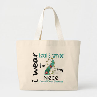 Cervical Cancer I Wear Teal & White For My Niece 4 Jumbo Tote Bag