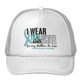 CERVICAL CANCER I Wear Teal White Mother-In-Law 10 Mesh Hat