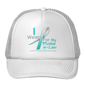 Cervical Cancer I Wear Teal & White Mother-in-Law Trucker Hats