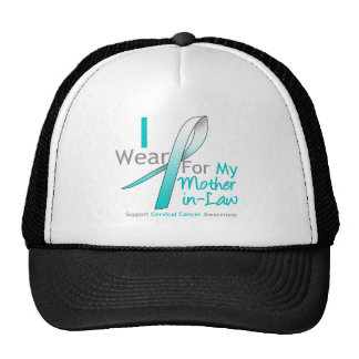 Cervical Cancer I Wear Teal & White Mother-in-Law Mesh Hats