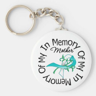 Cervical Cancer In Memory of My Mother Basic Round Button Key Ring