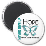 Cervical Cancer Never Give Up Hope Butterfly 4.1 6 Cm Round Magnet