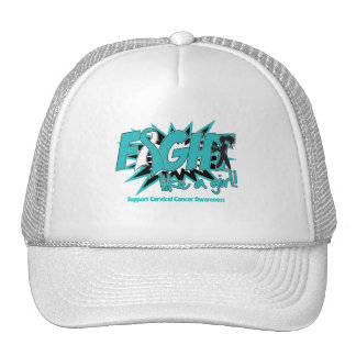 Cervical Cancer POW Style Fight Like A Girl Hats