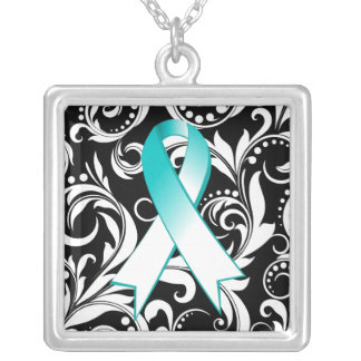 Cervical Cancer Ribbon Deco Floral Noir Necklaces